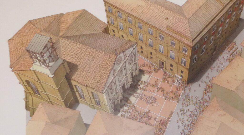 Pienza, Museo Diocesano presso Palazzo Borgia, rendering della Cattedrale e Palazzo Piccolomini.